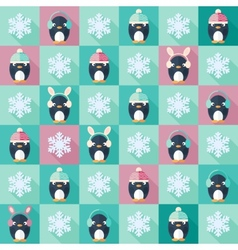 Christmas flat seamless pattern with penguins vector image vector image