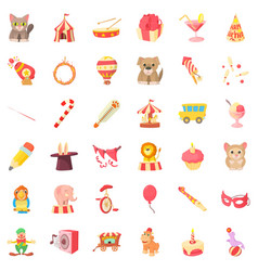 circus animal icons set cartoon style vector image vector image