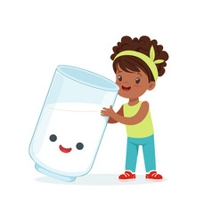 Cute black little girl and funny milk glass with vector