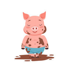 cute happy pig standing in a dirty pool funny vector image
