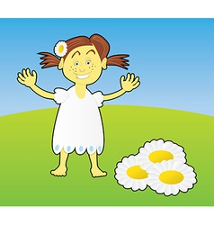 cute little girl with flower vector image