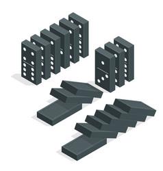 Domino effect full set of black isometric vector