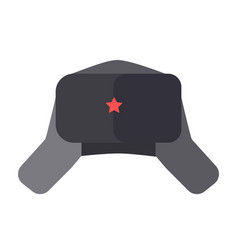 furry hat with ear flaps and red star on front vector image