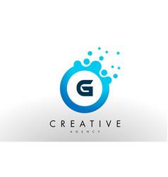 G letter logo blue dots bubble design vector