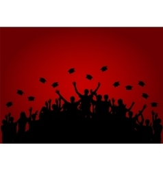 Graduates people throw square academic cap vector