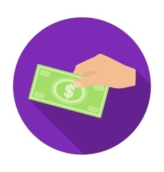 Hands giving money icon in flat style isolated on vector
