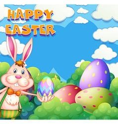 Happy easter poster with bunny and eggs in the vector