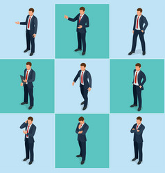 isometric set of businessman and businesswoman vector image vector image