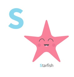 Letter s starfish zoo alphabet english abc with vector