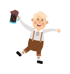 Man in folk german costume holding dark beer icon vector