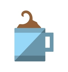 Mug coffee hot with plate icon shadow vector