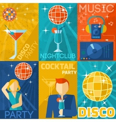 Night club poster set vector