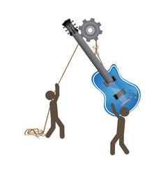 People with pulleys hanging the electric guitar vector