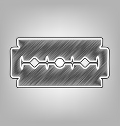 Razor blade sign pencil sketch imitation vector