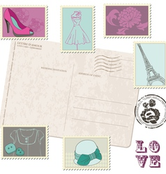 retro postcard with set of fashion stamps vector image vector image