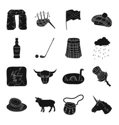 Scotland country set icons in black style big vector