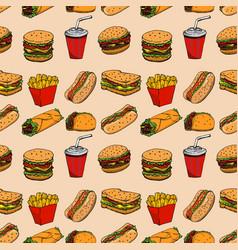 seamless pattern with fast food hamburger hot dog vector image