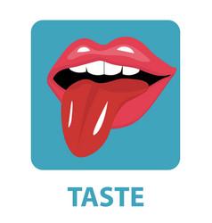 Sense of taste icon flat style isolated on white vector