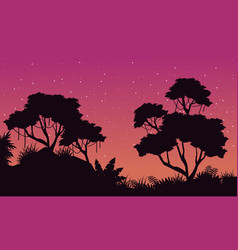 silhouette of jungle at night landscape vector image vector image