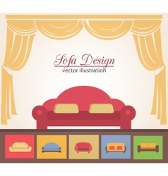 Sofa or couch design poster elements vector
