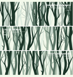 Trees set wild pine forest nature background vector