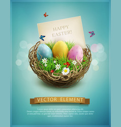 vintage Easter eggs in a wicker nest vector image