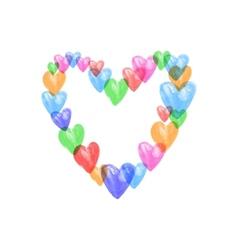 Watercolor colors hearts vector