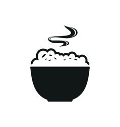 Bowl with porridge simple black icon on white vector image