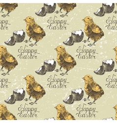 Easter seamless with chick vector