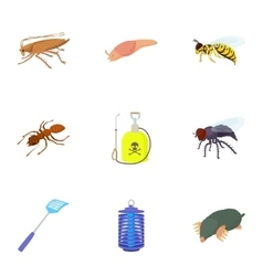 Bad pests icons set cartoon style vector