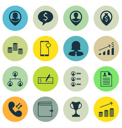 Set of 16 hr icons includes pin employee coins vector