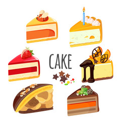 Set of cake pieces with fruits white and black vector