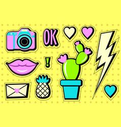 Stickers set cartoon patch badges vector