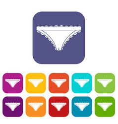 Panties with frill icons set flat vector