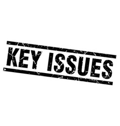 Square grunge black key issues stamp vector
