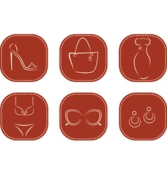 Icons with female fashion accessories vector