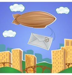 Urban landscape with blimp and letter vector