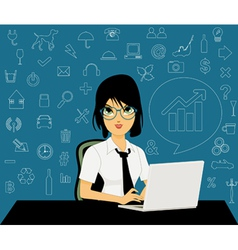 Female employees with icons vector
