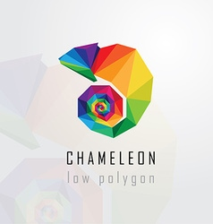 3d origami low polygon chameleon vector image