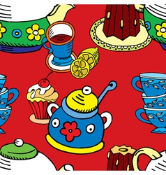 Tea cake pattern vector