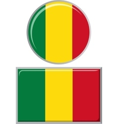 Malian round and square icon flag vector image