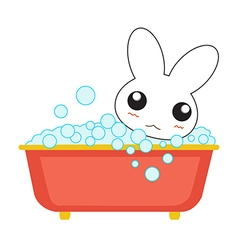 Cute cartoon bunny girl in a bath vector