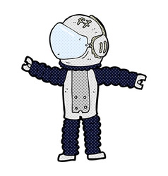 Comic cartoon astronaut reaching vector
