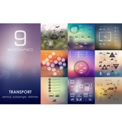 Transport infographic with unfocused background vector