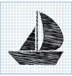 Sail boat icon with pen effect on paper vector