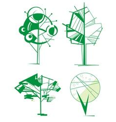 Decorative tree set vector