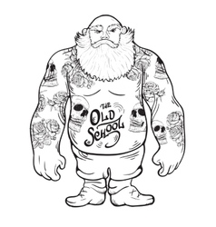 Brutal tattoo man with a beard vector