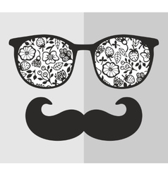 Abstract portrait of man in sunglasses and with vector