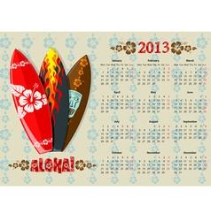 aloha kalendar europ 13 vector image vector image