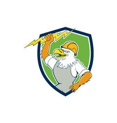 Bald Eagle Electrician Lightning Bolt Shield vector image
